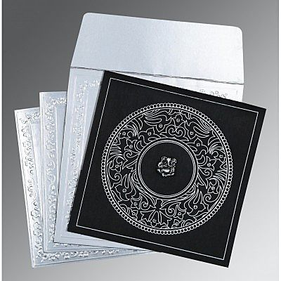BLACK WOOLY SCREEN PRINTED WEDDING CARD : IN-8214N