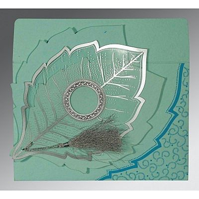 AQUA HANDMADE COTTON FLORAL THEMED - FOIL STAMPED WEDDING CARD : IN-8219C
