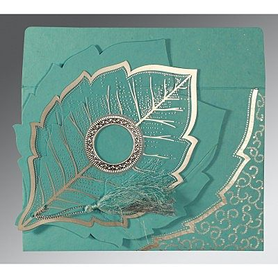 TURQUOISE HANDMADE COTTON FLORAL THEMED - FOIL STAMPED WEDDING CARD : IN-8219P