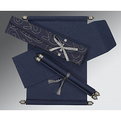 TORNADO BLUE HANDMADE SILK WEDDING CARD : SC-5002D