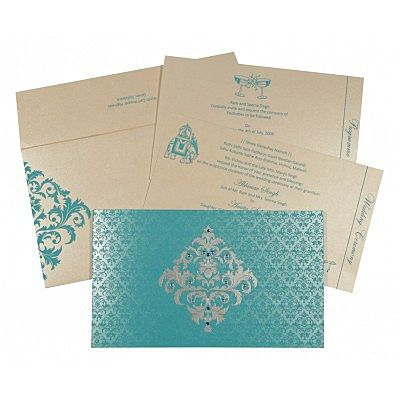 TURQUOISE SHIMMERY DAMASK THEMED - SCREEN PRINTED WEDDING CARD : IN-8257E