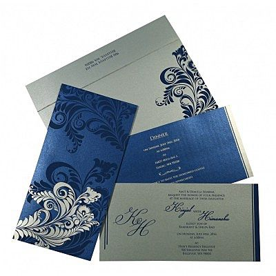 DARK BLUE SHIMMERY FLORAL THEMED - SCREEN PRINTED WEDDING CARD : CI-8259E