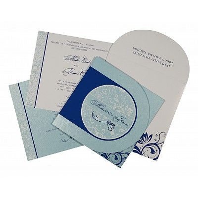 SKY BLUE SHIMMERY PAISLEY THEMED - SCREEN PRINTED WEDDING CARD : IN-8264H