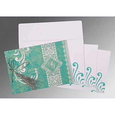 TURQUOISE SHIMMERY SCREEN PRINTED WEDDING CARD : IN-8223H