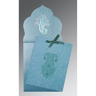 TOPAZ BLUE WOOLY SCREEN PRINTED WEDDING INVITATION : CCD-1382