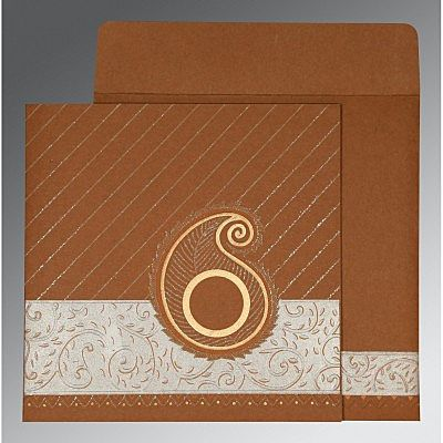 DARK ORANGE MATTE EMBOSSED WEDDING CARD : CCD-1178