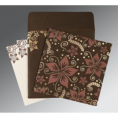 BROWN MATTE FLORAL THEMED - SCREEN PRINTED WEDDING INVITATION : IN-8240E