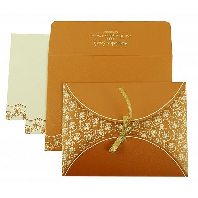 COPPER SHIMMERY BUTTERFLY THEMED - SCREEN PRINTED WEDDING INVITATION : CD-821C