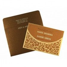 CREAM SHIMMERY LASER CUT WEDDING CARD : CCD-1587
