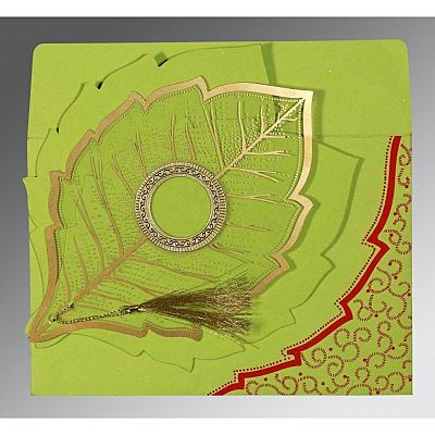 PARROT GREEN TRANSPARENT HANDMADE COTTON FLORAL THEMED - FOIL STAMPED WEDDING CARD : CS-8219A