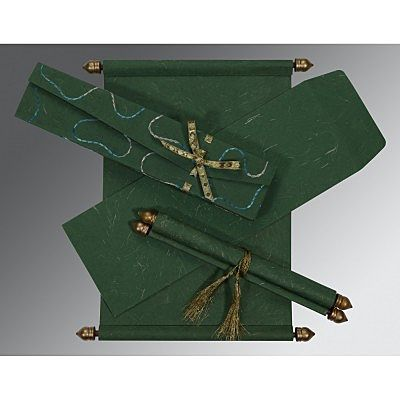 DARK GREEN HANDMADE SILK WEDDING CARD : SC-5002G