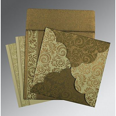 GREEN SHIMMERY FLORAL THEMED - SCREEN PRINTED WEDDING CARD : IN-8235A