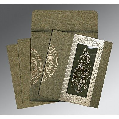 DEEP GREEN SHIMMERY PAISLEY THEMED - FOIL STAMPED WEDDING INVITATION : CI-8230L