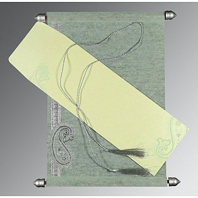 SAGE GREEN WOOLY FOIL STAMPED WEDDING CARD : CCSC-5015H