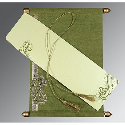 DEEP SAGE WOOLY FOIL STAMPED WEDDING CARD : CCSC-5015I
