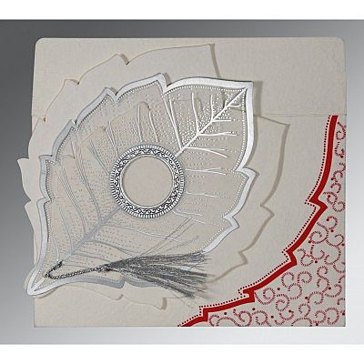 BEIGE HANDMADE COTTON FLORAL THEMED - FOIL STAMPED WEDDING CARD : IN-8219L