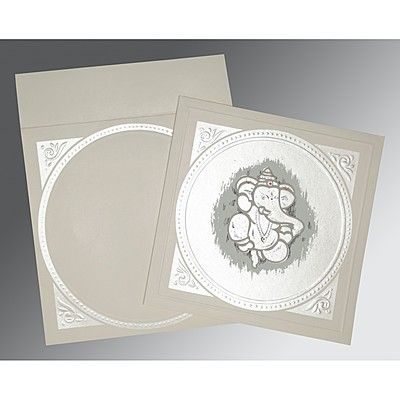 PALE SILVER MATTE EMBOSSED WEDDING CARD : CW-2015