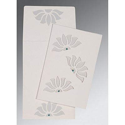 OFF-WHITE MATTE FLORAL THEMED - SCREEN PRINTED WEDDING INVITATION : CG-1254