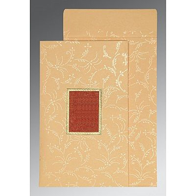 BEIGE MATTE SCREEN PRINTED WEDDING CARD : CCD-1303