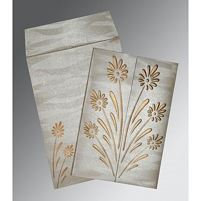 METALLIC GREY SHIMMERY FLORAL THEMED - EMBOSSED WEDDING CARD : CCD-1378
