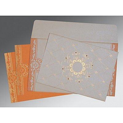 OFF-WHITE SHIMMERY FLORAL THEMED - SCREEN PRINTED WEDDING CARD : IN-8227D