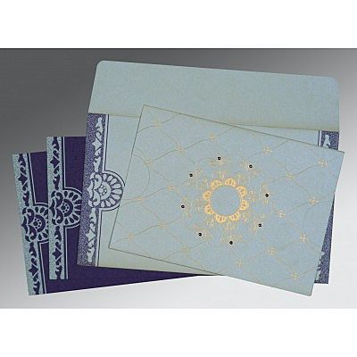 OFF-WHITE SHIMMERY FLORAL THEMED - SCREEN PRINTED WEDDING CARD : IN-8227E