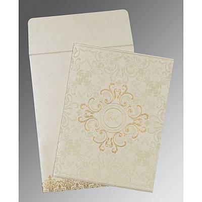 OFF-WHITE SHIMMERY SCREEN PRINTED WEDDING CARD : CS-8244B