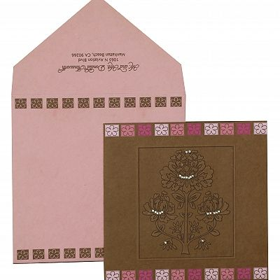 KHAKI HANDMADE COTTON FLORAL THEMED - EMBOSSED WEDDING INVITATION : CI-832