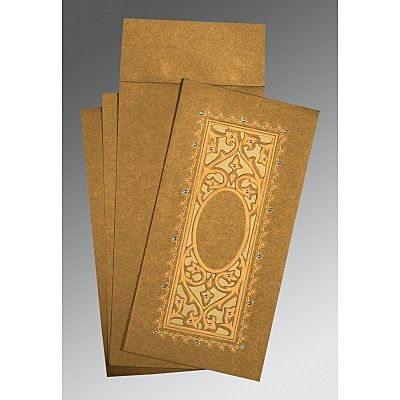 COPPER SHIMMERY EMBOSSED WEDDING CARD : CCD-1440