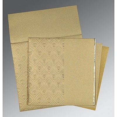 KHAKI SHIMMERY PAISLEY THEMED - FOIL STAMPED WEDDING INVITATION : CCD-1506
