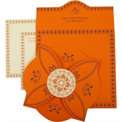 ORANGE BUTTERFLY THEMED - SCREEN PRINTED WEDDING INVITATION : CSO-820A