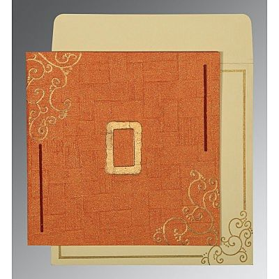 ORANGE HANDMADE SHIMMER EMBOSSED WEDDING INVITATION : CCD-1236