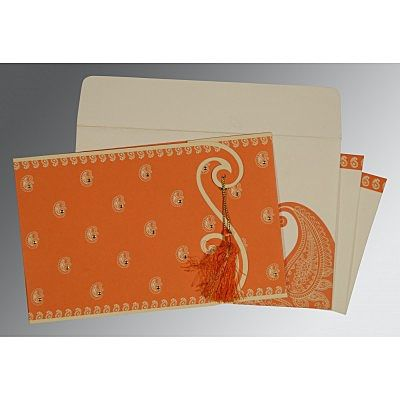 ORANGE MATTE PAISLEY THEMED - SCREEN PRINTED WEDDING INVITATION : IN-8252D
