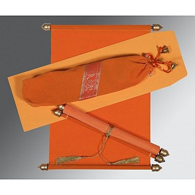ORANGE VELVET WEDDING INVITATION : CCSC-5004I