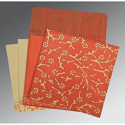 AUTUMN ORANGE WOOLY FLORAL THEMED - SCREEN PRINTED WEDDING INVITATION : CW-8216G