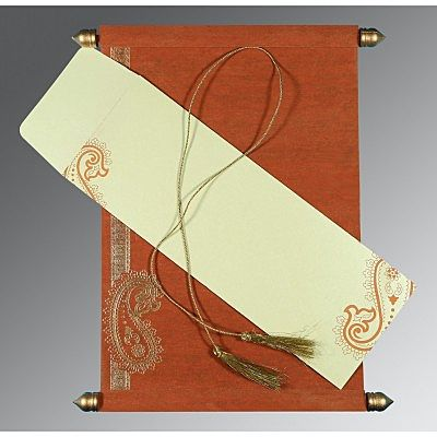 BURNT ORANGE WOOLY FOIL STAMPED WEDDING CARD : CCSC-5015K