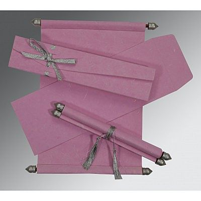 PINK HANDMADE SILK WEDDING CARD : SC-5001E