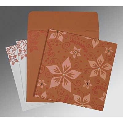 LIGHT BROWN MATTE FLORAL THEMED - SCREEN PRINTED WEDDING INVITATION : IN-8240H