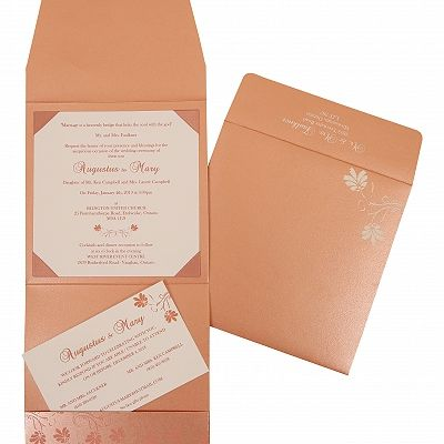 SALMON SHIMMERY SCREEN PRINTED WEDDING INVITATION : CI-803C