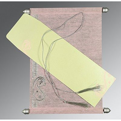 PINK WOOLY FOIL STAMPED WEDDING CARD : CCSC-5015D