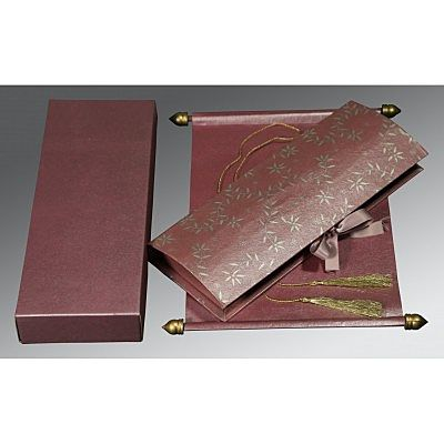 FERRA MAROON HANDMADE SHIMMER WEDDING INVITATION : CCSC-5007C