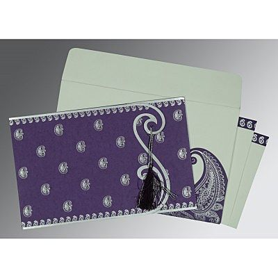 PURPLE MATTE PAISLEY THEMED - SCREEN PRINTED WEDDING INVITATION : IN-8252B