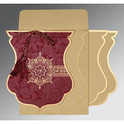 CLARET SHIMMERY FLORAL THEMED - SCREEN PRINTED WEDDING CARD : IN-8229K