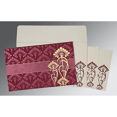 CLARET SHIMMERY SCREEN PRINTED WEDDING CARD : IN-8239B
