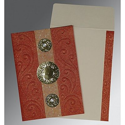 BRICK RED HANDMADE SHIMMER BOX THEMED - EMBOSSED WEDDING CARD : CCD-1389