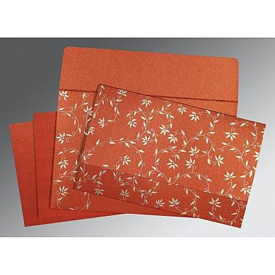 BRICK RED SHIMMERY FLORAL THEMED - SCREEN PRINTED WEDDING INVITATION : CS-8226I