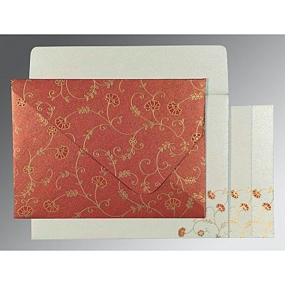 RED SHIMMERY FLORAL THEMED - SCREEN PRINTED WEDDING INVITATION : CSO-8248A