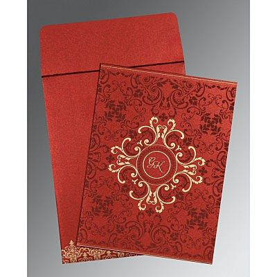 WINE RED SHIMMERY SCREEN PRINTED WEDDING CARD : IN-8244E