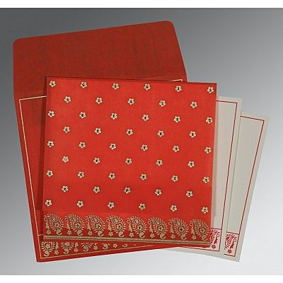 SCARLET WOOLY FLORAL THEMED - SCREEN PRINTED WEDDING CARD : CG-8218M