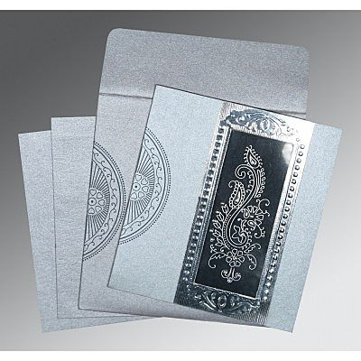 SILVER SHIMMERY PAISLEY THEMED - FOIL STAMPED WEDDING INVITATION : IN-8230F